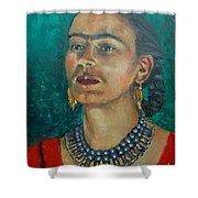 Frida Teal Shower Curtain