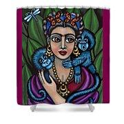 Frida's Monkeys Shower Curtain by Victoria De Almeida