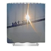 Friendly Nepali In The Sunlight On The Suspension Bridge Over The Seti River In Nepal  Shower Curtain
