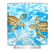 Friends Baby Sea Turtles Shower Curtain