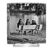 Friends In Black And White Shower Curtain