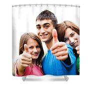 Friends Showing Thumb Up Sign Shower Curtain