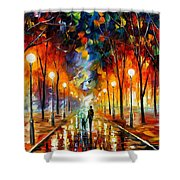 Friendship - Palette Knife Oil Painting On Canvas By Leonid Afremov Shower Curtain