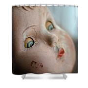 Frightened Vintage Doll Face Shower Curtain