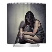 Frightened Woman Shower Curtain