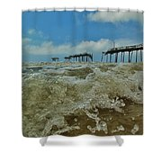 Frisco Pier Water Level View 1 5/24  Shower Curtain