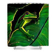 Frog And Leaf Shower Curtain
