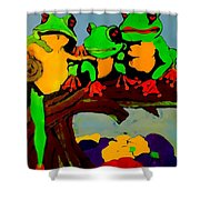 Frog Family Hanging Out On A Limb Shower Curtain