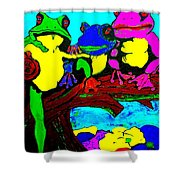 Frog Family Hanging Out On A Limb3 Shower Curtain