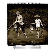 Frog Hunters Black And White Photograph Version Shower Curtain