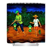 Frog Hunters Shower Curtain