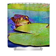 Frog - On A Water Lily Pad Shower Curtain