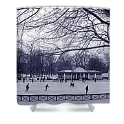 Frog Pond Skating Shower Curtain