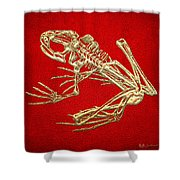 Frog Skeleton In Gold On Red  Shower Curtain