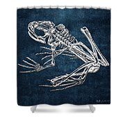 Frog Skeleton In Silver On Blue  Shower Curtain