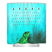 Frog With Flies In Space Invaders Formation Shower Curtain by Fabrizio Cassetta