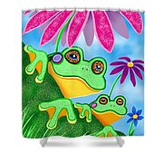 Froggies And Flowers Shower Curtain