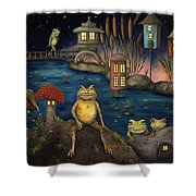 Frogland Shower Curtain by Leah Saulnier The Painting Maniac