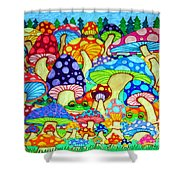 Frogs And Magic Mushrooms Shower Curtain