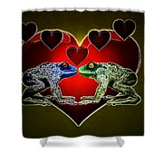Frogs In Love Shower Curtain