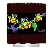 Frogs On Vines Shower Curtain