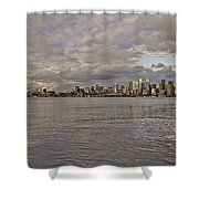 from Alki Beach Seattle skyline Shower Curtain