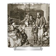 From Hand To Mouth, Engraved By J.m Shower Curtain