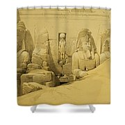 Front Elevation Of The Great Temple Of Aboo Simbel Shower Curtain by David Roberts