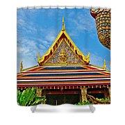 Front Of Royal Temple At Grand Palace Of Thailand In Bangkok Shower Curtain