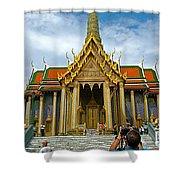 Front Of Thai-khmer Pagoda At Grand Palace Of Thailand In Bangkok Shower Curtain