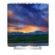 Front Range Light Show Shower Curtain by Darren  White