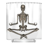 Front View Of Human Skeleton Meditating Shower Curtain