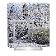 Front Yard Of A House In Winter Shower Curtain