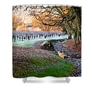 Frost In The Valley Shower Curtain by Bill Gallagher