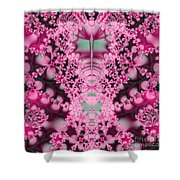 Frost On The Roses Fractal Shower Curtain