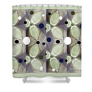 Frosted Green Flower Shower Curtain