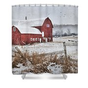 Frosted Hay Bales Shower Curtain