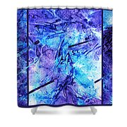 Frozen Castle Window Blue Abstract Shower Curtain