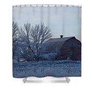 Frosty Barn Shower Curtain