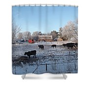 Frosty Barnyard Shower Curtain