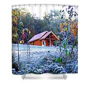 Frosty Cabin Shower Curtain