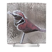 Frosty Cardinal Shower Curtain