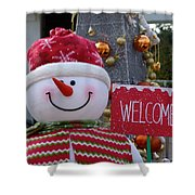 Frosty Greetings Shower Curtain