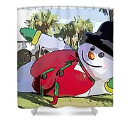 Frosty Is Here Shower Curtain