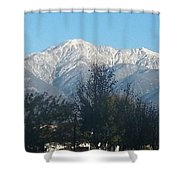 Frosty Mountain Top View From Rancho Cucamonga Ca. Shower Curtain