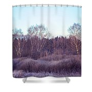 Frosty Purple Morning In Russia Shower Curtain