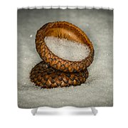 Frozen Acorn Cupule Shower Curtain