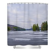 Frozen Bear Creek Lake Shower Curtain
