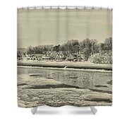 Frozen Boathouse Row In Sepia Shower Curtain