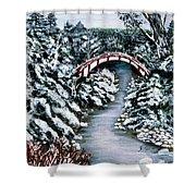 Frozen Brook - Winter - Bridge Shower Curtain